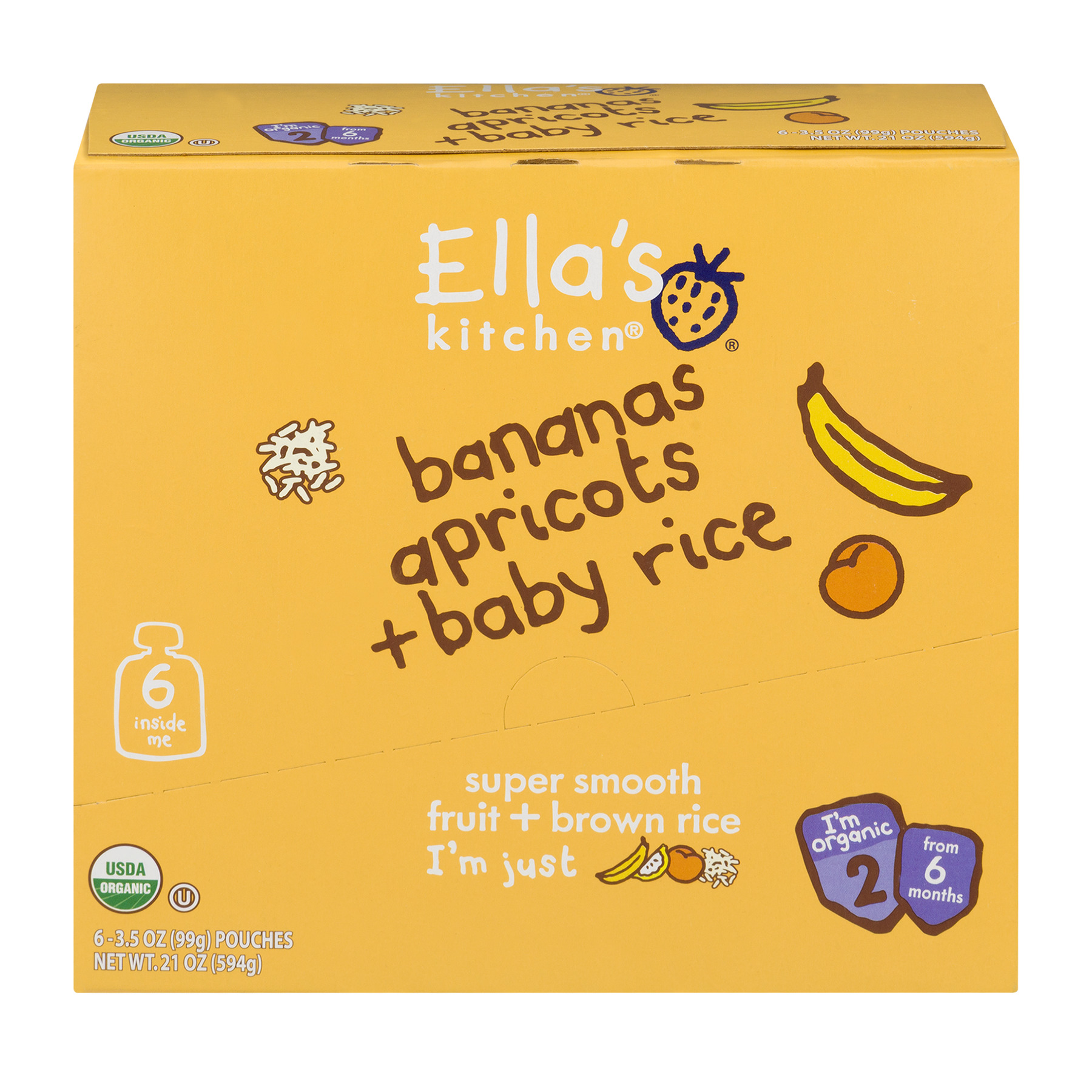 Ella's Kitchen 6+ Months Organic Baby Food, Bananas Apricots + Baby Rice, 3.5 oz. (Pack of 6)