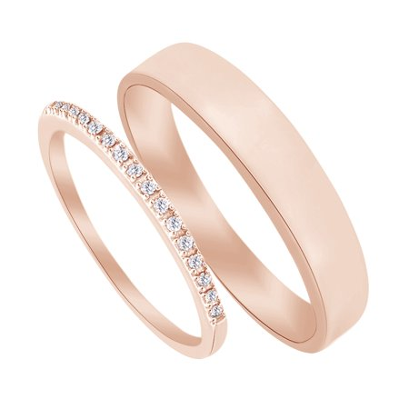 14k Rose Gold Wedding Band (Round Cut White Natural Diamond His and Hers Wedding Band Set in 14K Rose Gold (0.1 Cttw) )