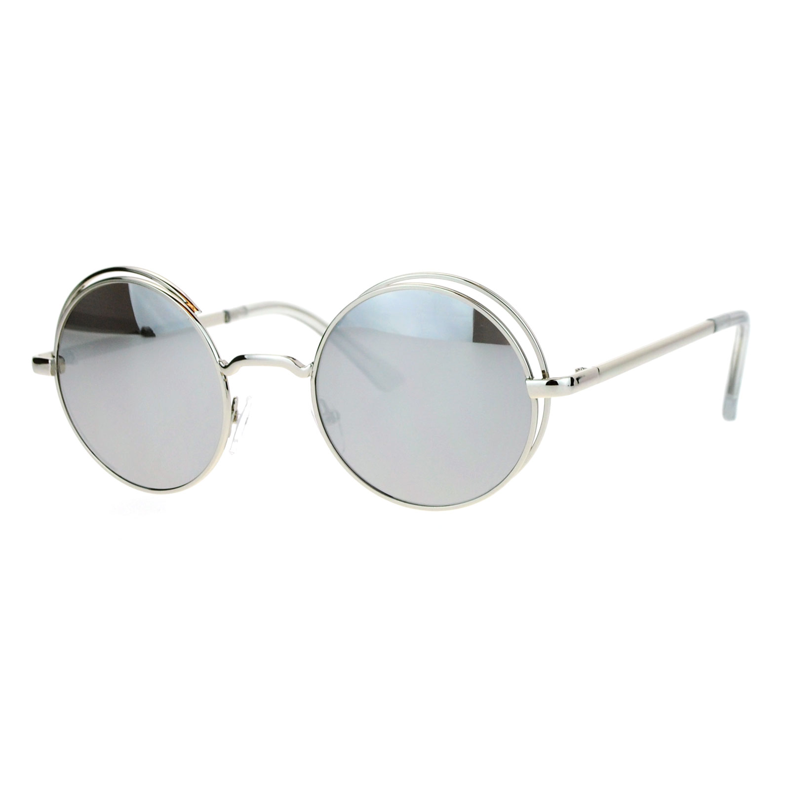 dff0f164677 SA106 - SA106 Mirrored Mirror Round Circle Len Double Rim Sunglasses Gold  Orange - Walmart.com