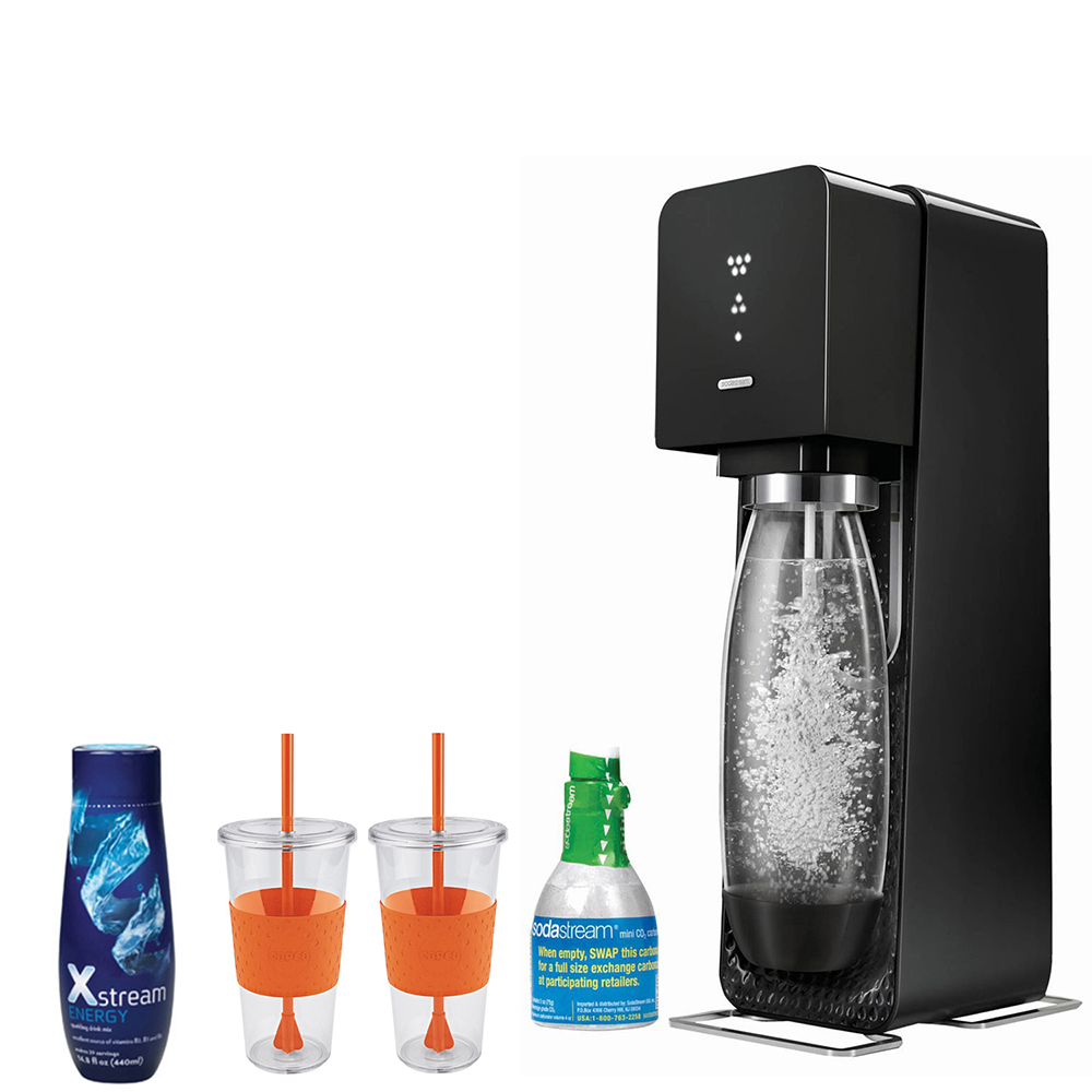 SodaStream Source Home Soda Maker Starter Kit, Black with 24 Ounce Togo Cup (2 Qty)  and Xstream  Energy Drink