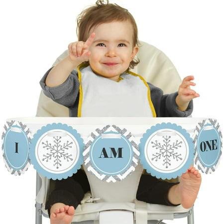 ONEderland 1st Birthday - I Am One - First Winter Wonderland Birthday High Chair Banner - Winter Onederland Birthday Banner
