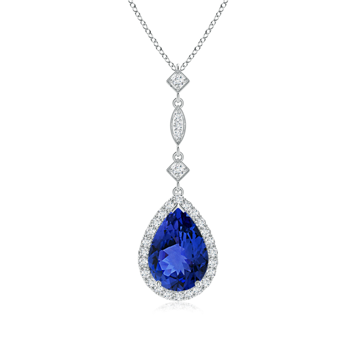 Mother's Day Jewelry Necklace Pear Shaped Tanzanite Teardrop Pendant with Diamond Accents in 950 Platinum (10x7mm... by Angara.com