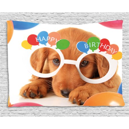 Birthday Decorations for Kids Tapestry, Puppy Dog Golden with Glasses Balloons Present Party Theme, Wall Hanging for Bedroom Living Room Dorm Decor, 60W X 40L Inches, Multicolor, by Ambesonne ()