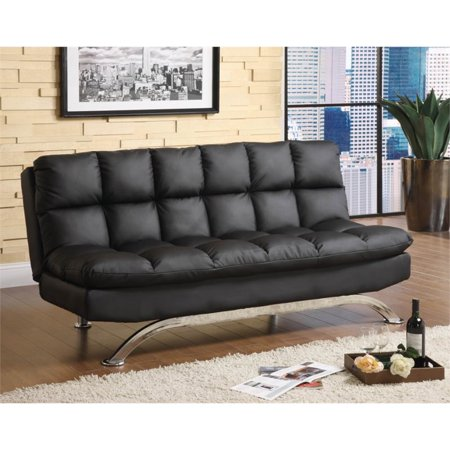 Furniture of America Preston Tufted Leather Sleeper Sofa Bed in Black ()