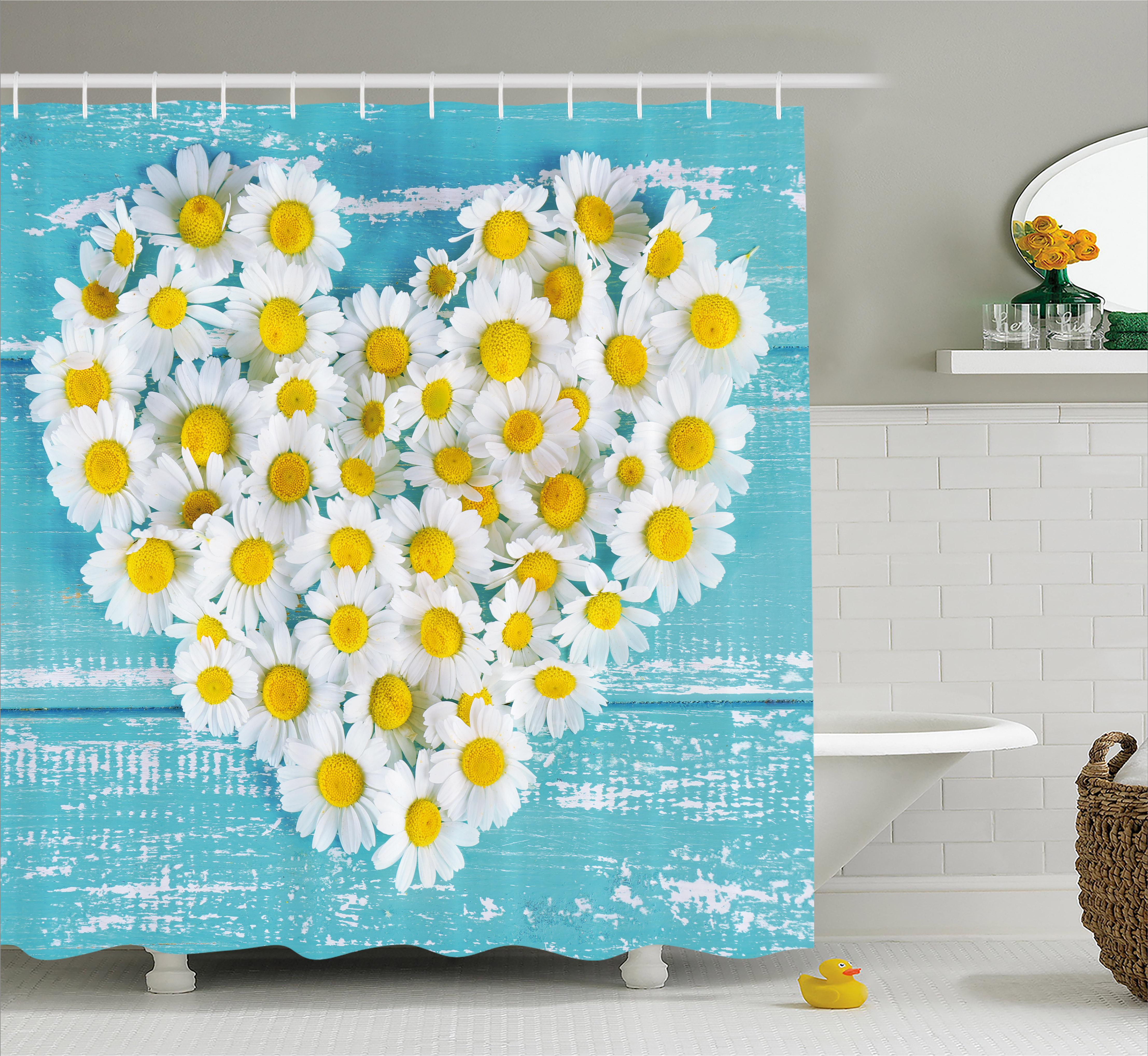 Shower Curtain, Heart Shaped Daisy Flowers