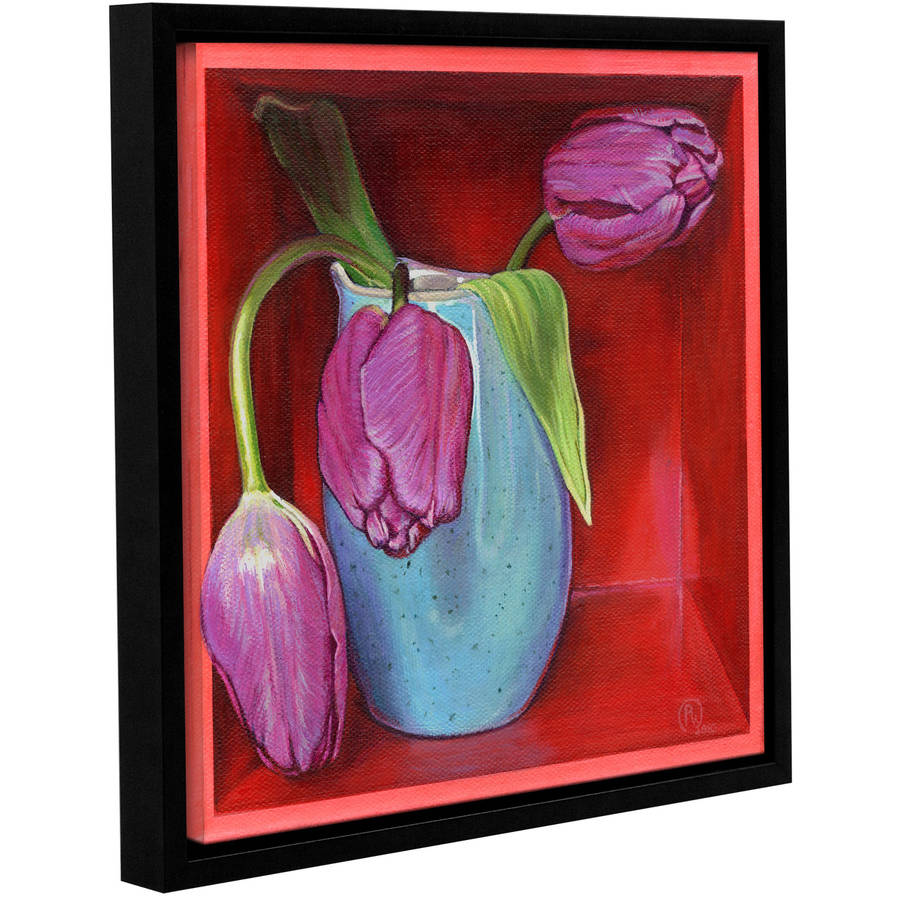"""ArtWall Paige Wallis """"A Trio Of Tulips"""" Gallery-wrapped Floater-framed Canvas"""