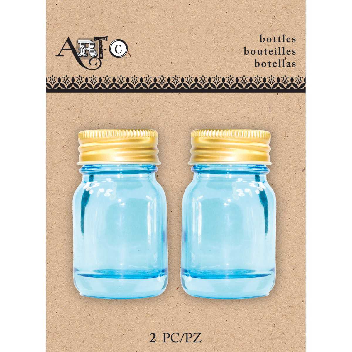 Art-C Mini Glass Bottles-Blue Mason, 2/Pkg