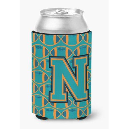 Letter N Football Aqua, Orange and Marine Blue Can or Bottle Hugger - Blue Footballs
