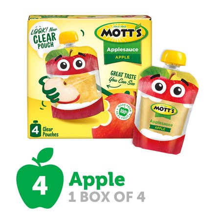 Mott's Applesauce, 3.2 oz clear pouches, 4 count