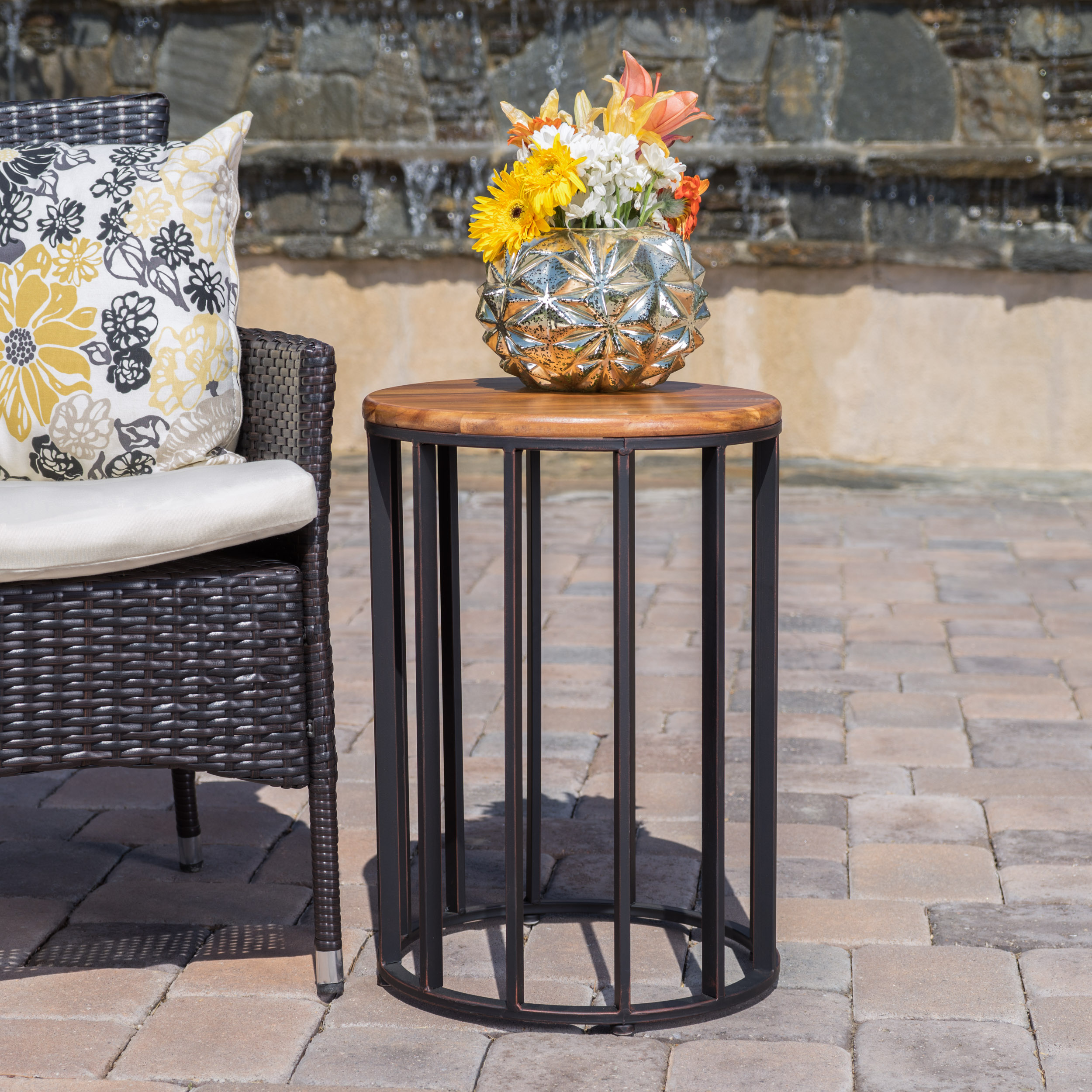 "Cascada Outdoor Acacia Wood 15"" Accent Table with Antique Finished Iron Accents, Natural Finish"