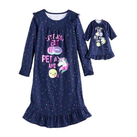 SO Girls Sleepwear Long Sleeve Fleece Pajama Nightgown W Matching Doll (Best Clothes To Sleep In)