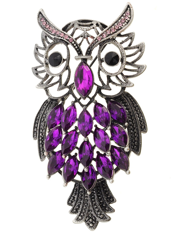 Vintage Style Purple Amethyst Owl Pin Brooch by