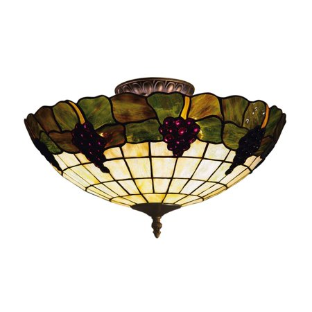 New Product  Grapevine 3 Light Semi Flush In Vintage Antique With Stained Glass 931-VA Sold by - Grapevine Flush