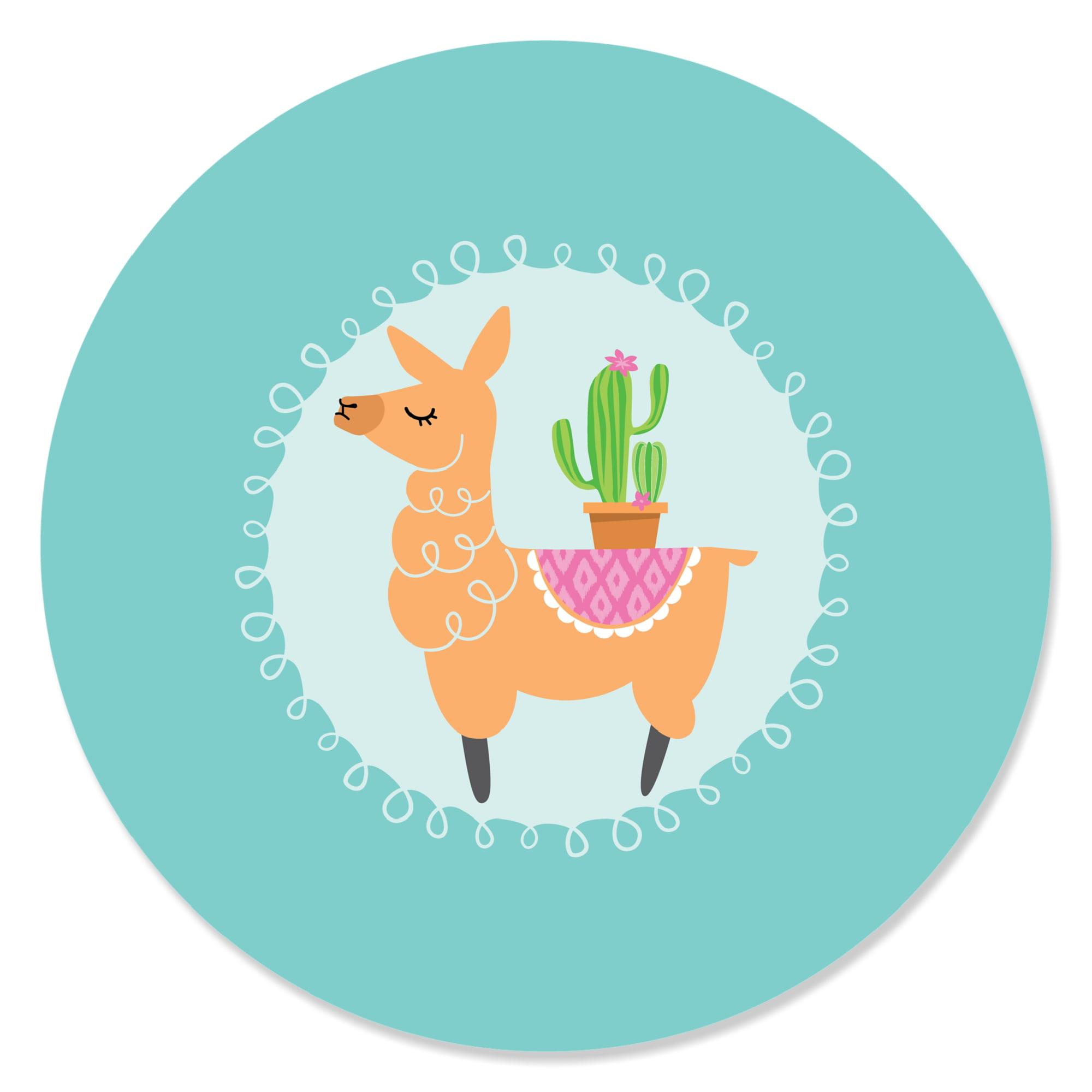 Whole Llama Fun - Llama Fiesta Baby Shower or Birthday Party Circle Sticker Labels - 24 Count