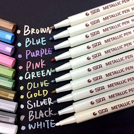 OkrayDirect Assorted Colored Metallic Permanent Paint Markers Pens Metallic Marker Pens
