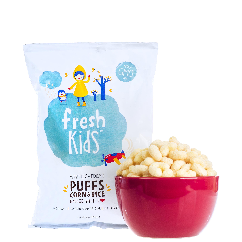FreshKids White Cheddar Puffs Corn and Rice, 4 oz