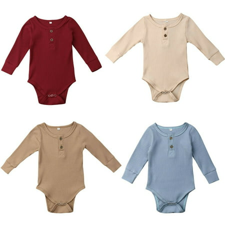 Newborn Baby Girls Boy Strip Romper Outfit Soft Knitting Bodysuit Jumpsuit Clothes