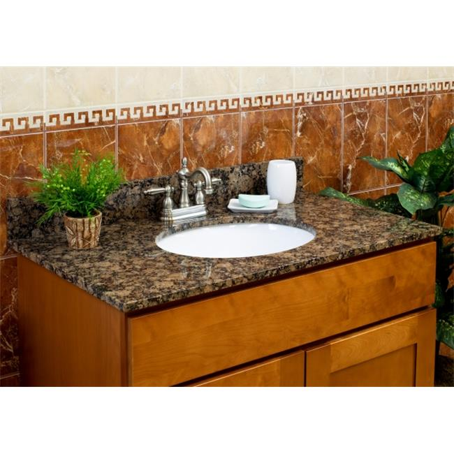 LessCare LGB31228 31 inch x 22 inch x 8 inch Vanity Granite Top - Baltic Brown