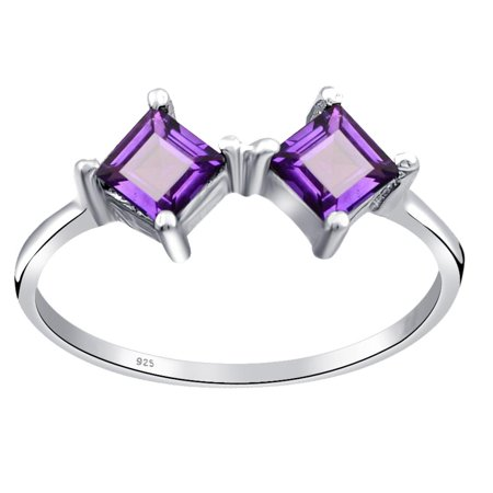 Orchid Jewelry 0.7Ct Two-Stone Square Cut 925 Sterling Silver Ring with Amethyst Ring Size -7