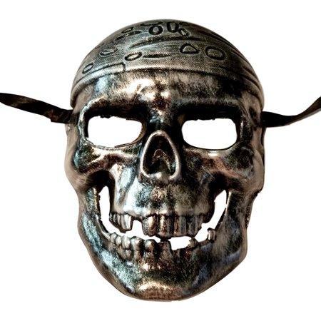 Pirate Skull Silver Buccaneer Pirates of the Caribbean Mask Halloween (Pirate Mask Halloween)