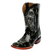 Ferrini Western Boots Boy Girl Kid Straps Square Marble Black 72193-62