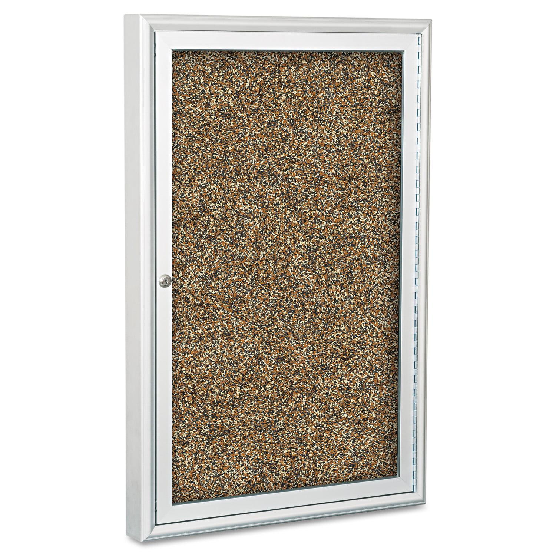 "Best-Rite Enclosed Rubber-Tak Bulletin Cabinet, 24""w x 36""h, Aluminum Frame"