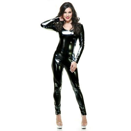 Womens  Liquid Metal Black Long Sleeve U Neck Unitard Costume - Ladies Black Metal