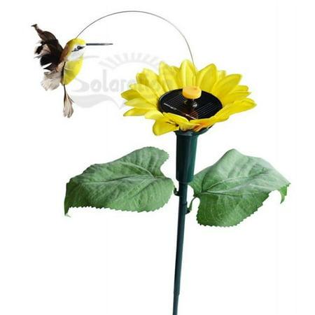Solar Dancing Hummingbird with Sunflower Yard Stake (Strike Bird)