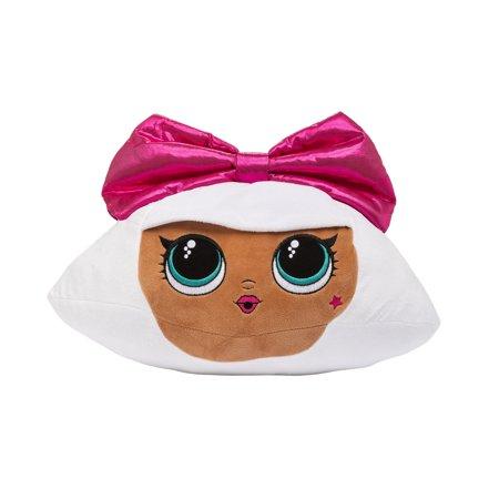 L.O.L. Surprise! Diva Plush Pillow, 12 x 17, Kids Character Pillow Buddy, Pink Bow Diva