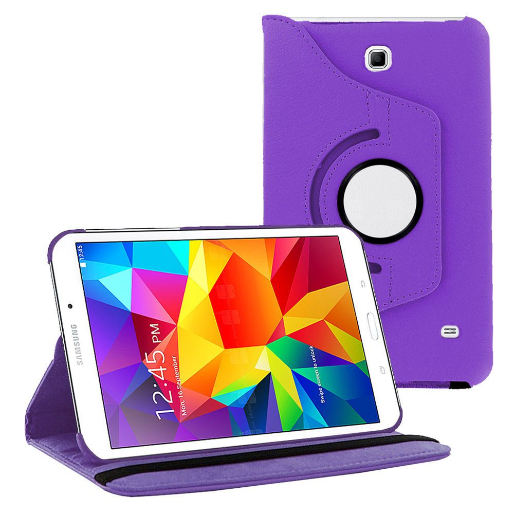 Galaxy Tab 4 7.0 case by KIQ PU 360 Rotating Leather Stand Case Folio Flip Cover For Samsung Galaxy Tab 4 7.0 SM-T230 (Black)