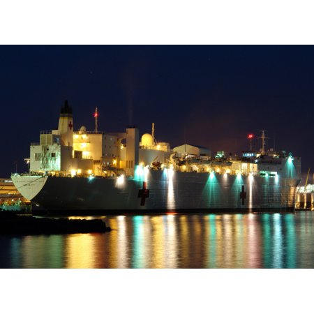 Military Sealift Command Ships - LAMINATED POSTER The Military Sealift Command hospital ship USNS Mercy (T-AH 19) prepares to depart Pearl Harbor, Haw Poster Print 24 x 36