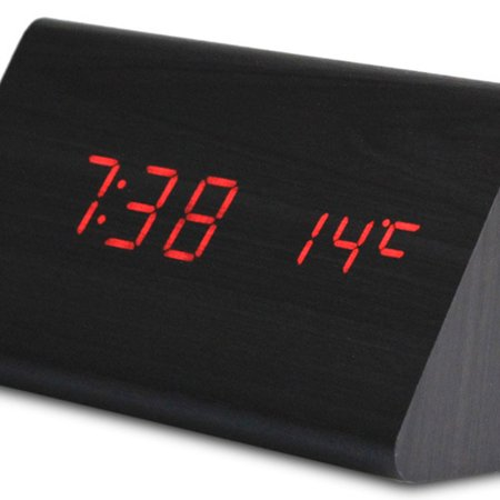 Led Multi-Function Wood Clock Temperature Fashion Creative Voice Control Mute - image 6 de 6