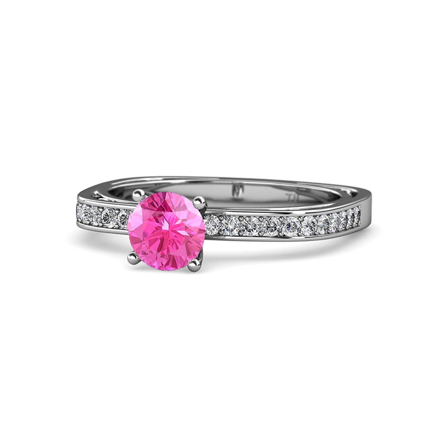 Pink Sapphire and Diamond (SI2-I1, G-H) Euro Shank Engagement Ring 1.05 ct tw 14K White Gold.size 4.5 by TriJewels
