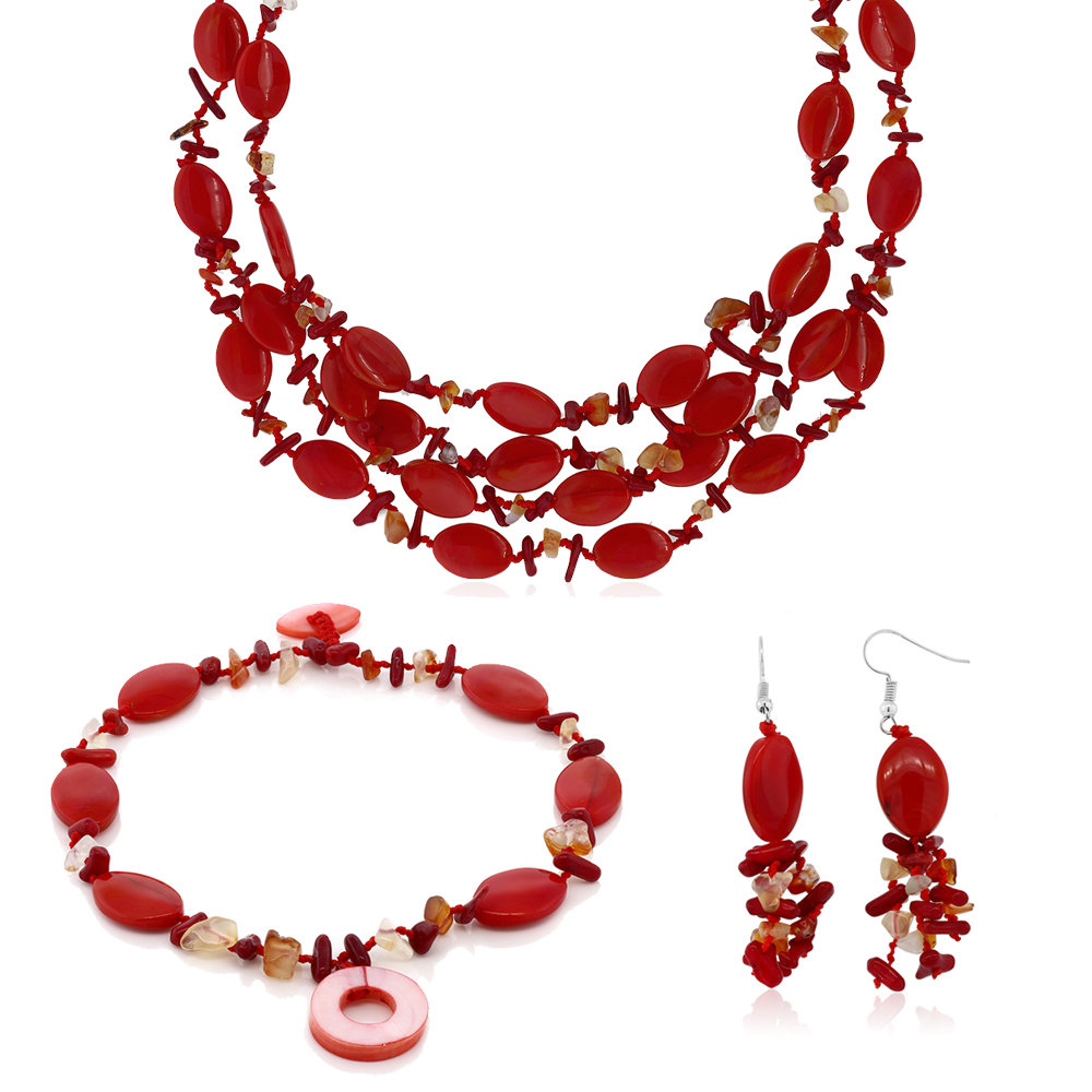 19 Inch Red Simulated Coral and Stone Chips Necklace Bracelet and Earrings Set by
