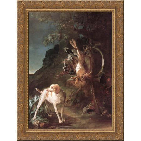 Game Still Life with Hunting Dog 24x18 Gold Ornate Wood Framed ...
