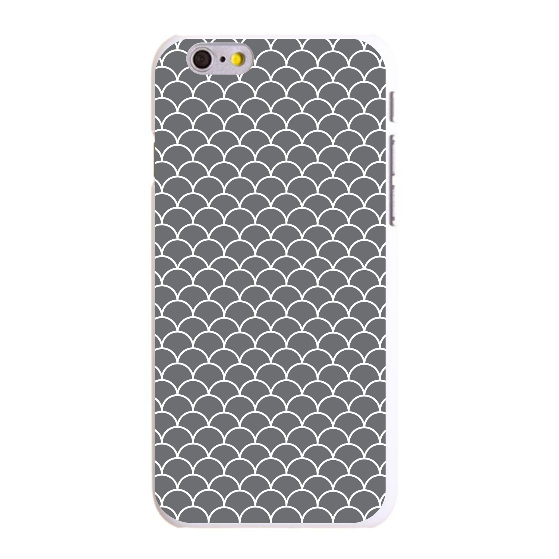 "CUSTOM White Hard Plastic Snap-On Case for Apple iPhone 6 / 6S (4.7"" Screen) - Grey White Scalloped Pattern"