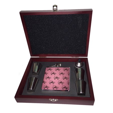 KuzmarK Pink Leather Flask Set in Rose Wood Gift Box - Scorpion Guns Pattern Art