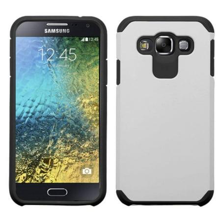 Insten Hard Hybrid Rubber Coated Silicone Case For Samsung Galaxy E5 - Silver/Black - image 1 de 1