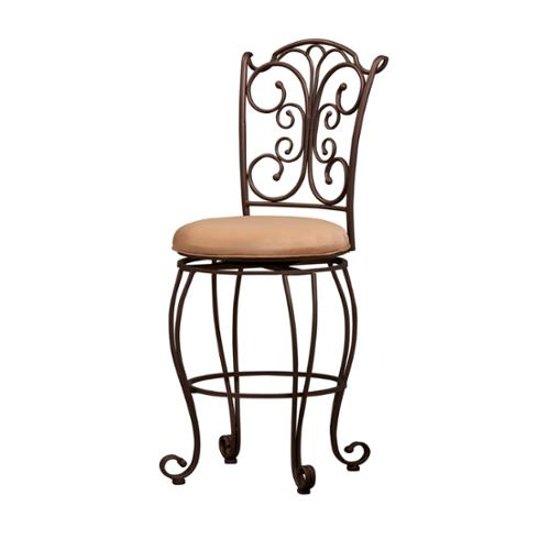 Oh! Home Mariposa Metal Bar Stool Light Brown Polyester