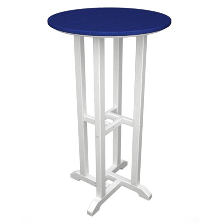 POLYWOOD; Contempo Recycled Plastic 24 in. Pub Table - Vibrant Dual Colors with Black Frame