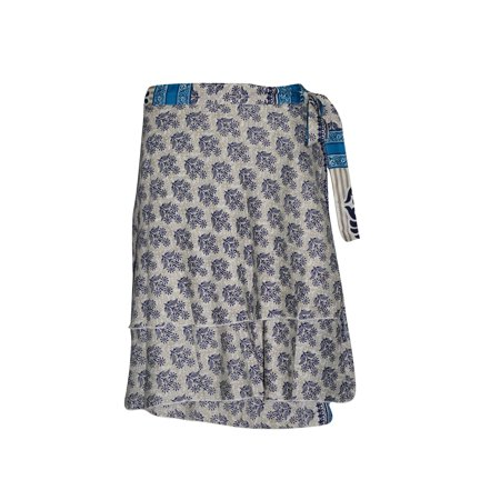 Mogul Women Silk Wrap Around Skirt Two Layer Reversible Blue Printed Premium Magic Short Skirts