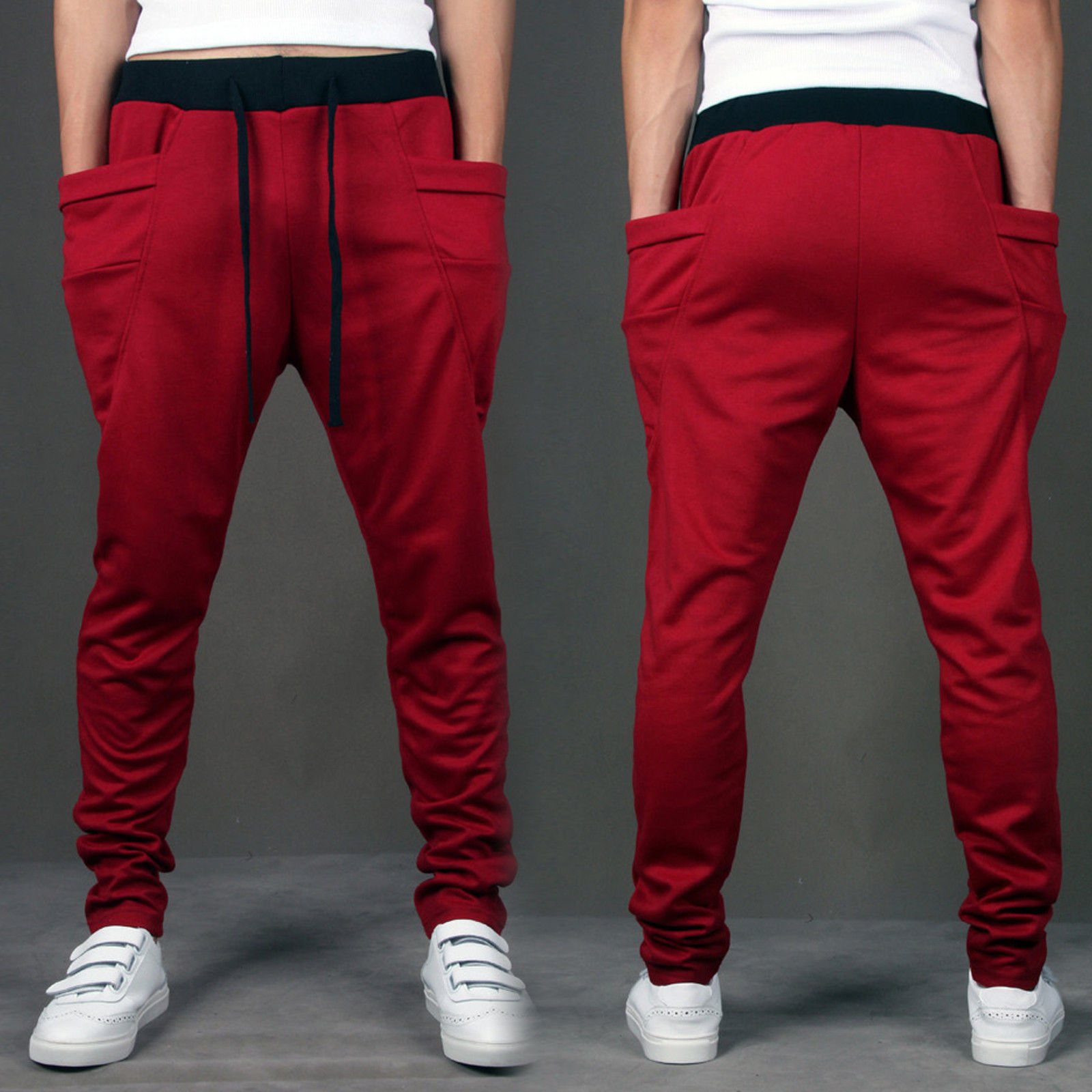Mens Casual Jogger Dance Sportwear Baggy Harem Pants Slacks Trousers Sweatpants-Red- L