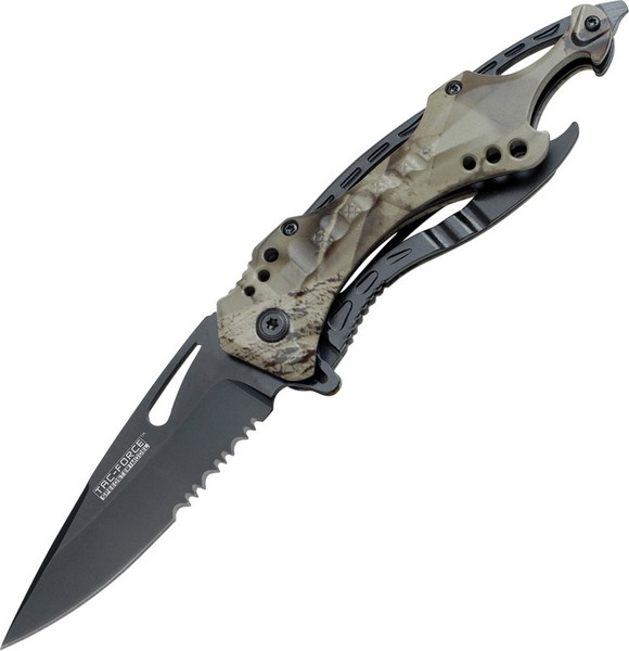 TAC Force TF-705 Series Assisted Opening Tactical Folding Knife, Half-Serrated Blade, 4-1/2-Inch Cl