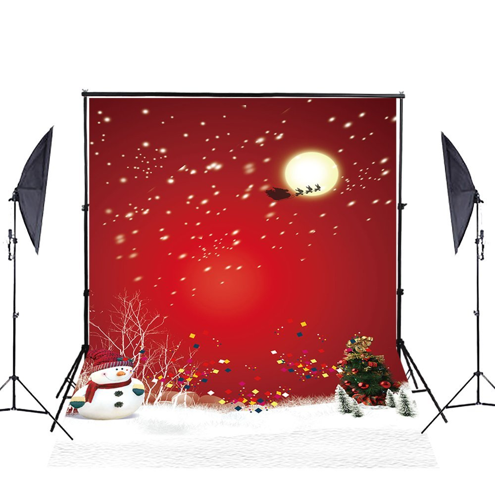 GreenDecor Polyester Fabric 5x7ft Photography Backdrop for Photographers Red Wall Snowflakes Christmas Tree Backdrops for Children Studio Props