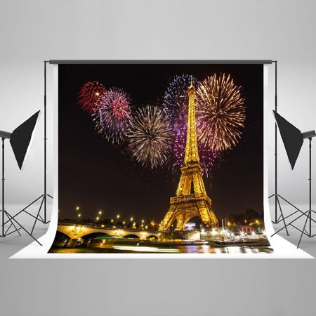 HelloDecor Polyster 7x5ft Night Paris Light Eiffel Tower Colorful Fireworks Wedding Decorations Photography Backdrop Photo Booth Background