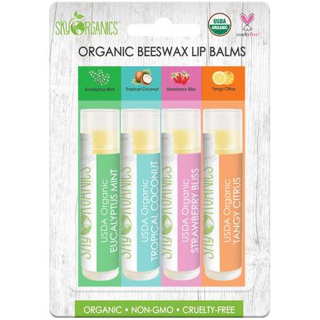 Organic Beeswax Lip Balms Non-GMO, USDA Certified Lip Balms, Naturally Flavored (4 x 0.15