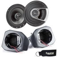 "SSV Works For RG4-F65U Polaris Ranger Front Kick Pods '18-up + Polk MM652 6.5"" Marine Rated Coax Speakers"