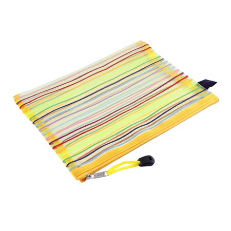 Meshy Style Stripes Zip Up A5 Paper Document File Pen Bag Holder