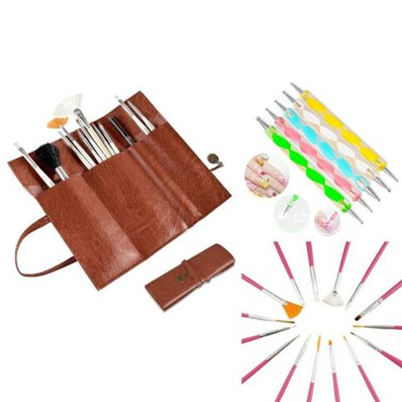 Zodaca 20 pcs set Nail Art Tools Design Painting Dotting Dot Line Stripe Paint Draw UV Gel Polish Pen Pink Brushes Set + Brown Roll up Bag (3-in-1 Accessory Bundle) - Halloween Nails Art Design
