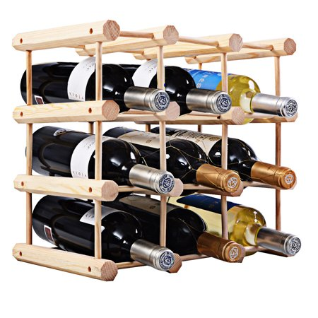 Costway 12 Bottle Wood Wine Rack Bottle Holder Storage Display Natural Kitchen 2 Bottle Wine Holder